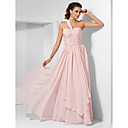 A-line One Shoulder Floor-length Chiffon Evening Dress (1616026)