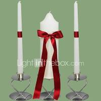 Red Bow Wedding Unity Candles Set-White (Candle Holders ...