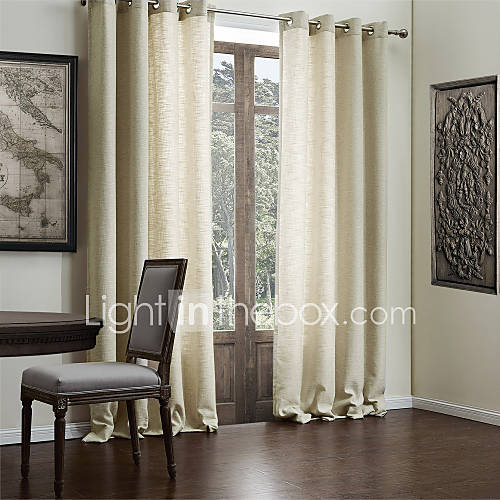 Modern Two Panels Solid Beige Living Room Faux Linen