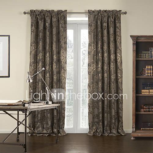 Two Panels Jacquard Brown Gardern Blackout Curtain