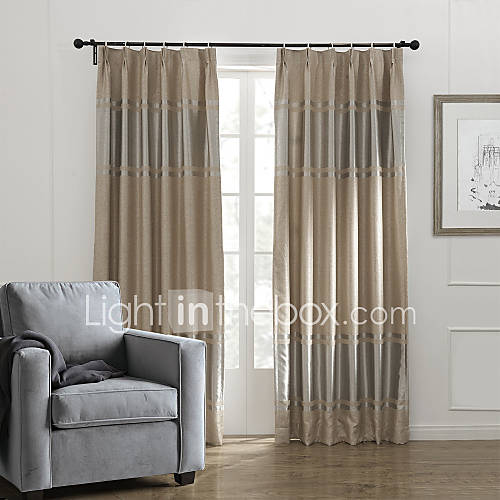 khaki bedroom curtains Neoclassical Two Panels Stripe Khaki Bedroom Polyester