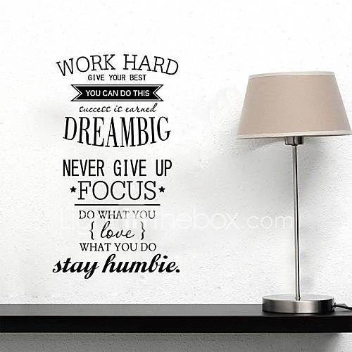 Wall Stickers Wall Decals Style Work Hard Dream BIg