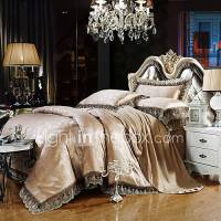 Gray Gold Bedding Set Queen King Size Luxury Silk Cotton ...