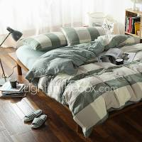 Green plaid Washed Cotton Bedding Sets Queen King Size ...