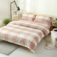 Pink Plaid Washed Cotton Bedding Sets Queen King Size ...