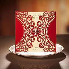 Personalised Laser Cut Gold Diamante Asian Wedding Day Invitations Invites