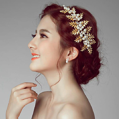 gold romantic vintage style wedding party headpieces hair accessories with imitation pearls
