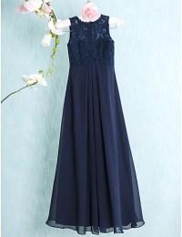 Floor-length Chiffon / Lace Junior Bridesmaid Dress-Dark ...
