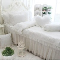 FADFAY@Romantic White Lace Ruffled Bedding Sets Korean ...