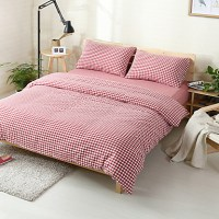 Red plaid Washed Cotton Bedding Sets Queen King Size ...