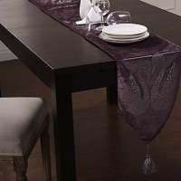 "Purple Velvet Table Runner with Swan Diamond 80""12 ..."