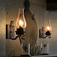 Retro Rustic Nordic Glass Wall Lamp Bedroom Bedside Wall