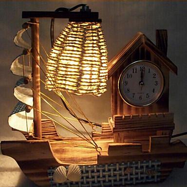 creatieve hout licht klok zeilen lamp decoratie bureaulamp