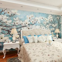 JAMMORY Floral Wallpaper Country Wall Covering,Canvas ...