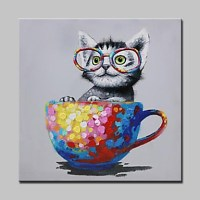 100% Hand-Painted Naughty Cat Animal Oil Painting On ...