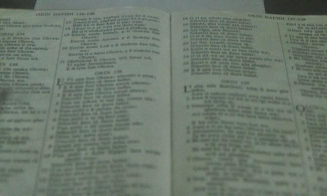 Yoruba Bible, seen here was the first
