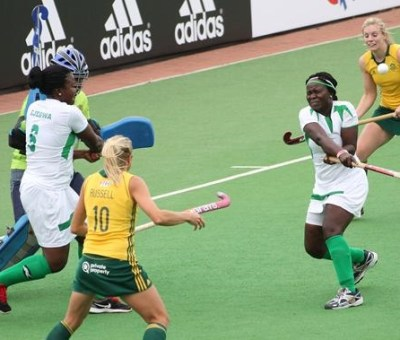 Nigeria's Women Team player using high pass during the  Greenfields African Hockey Championships