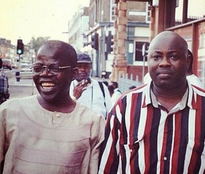 Democracy activists; Bola Tinubu, later Lagos State Governor, and journalist, Dele Momodu, exiling in London during NADECO years.