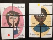 puzzle : gomettes pour un rangement plus facile par les élèves.