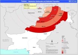 Área de alcance del terremoto