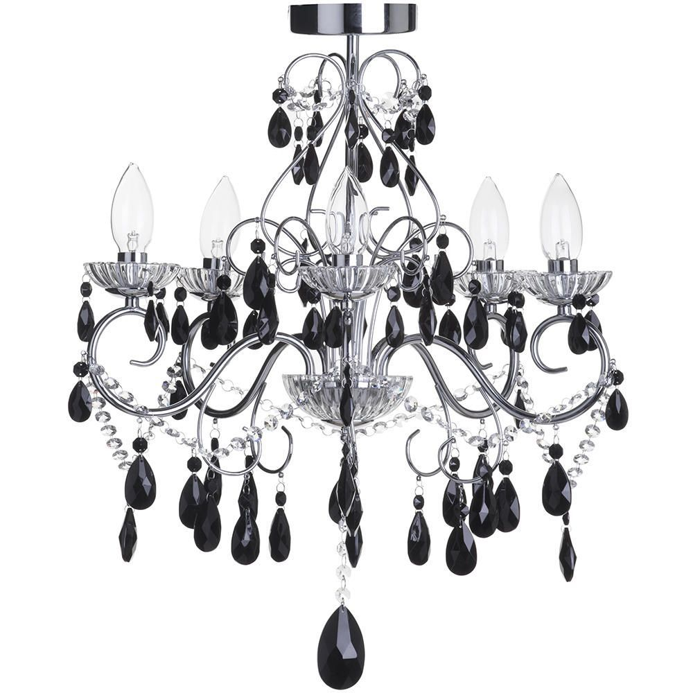 Bathroom Chandelier Lighting Vara 5 Light Chrome Bathroom Chandelier W Black Crystals