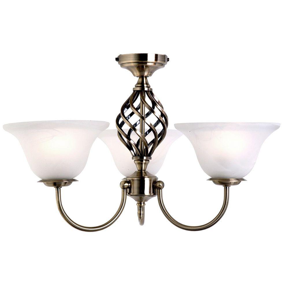 Antique Brass Ceiling Light  Spiral 3 Light Frosted Glass