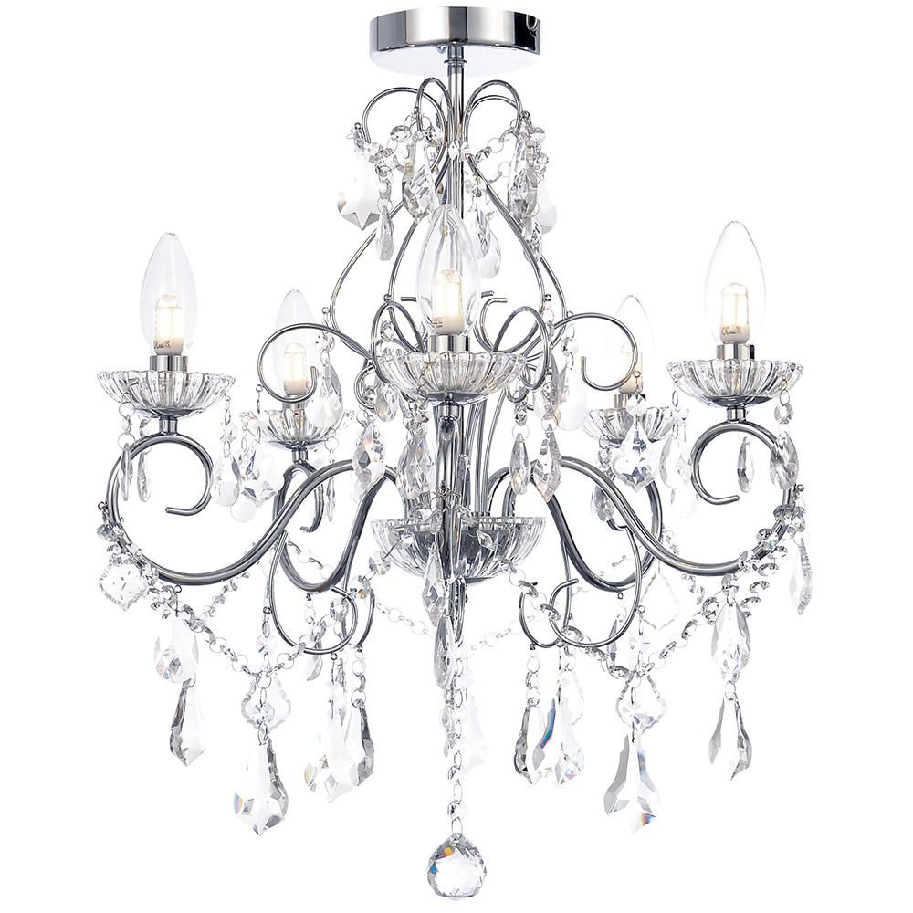 Bathroom Chandelier Lighting Details About Litecraft 5 Light Modern In Chrome Decorative Bathroom Chandelier Ip44 Lighting