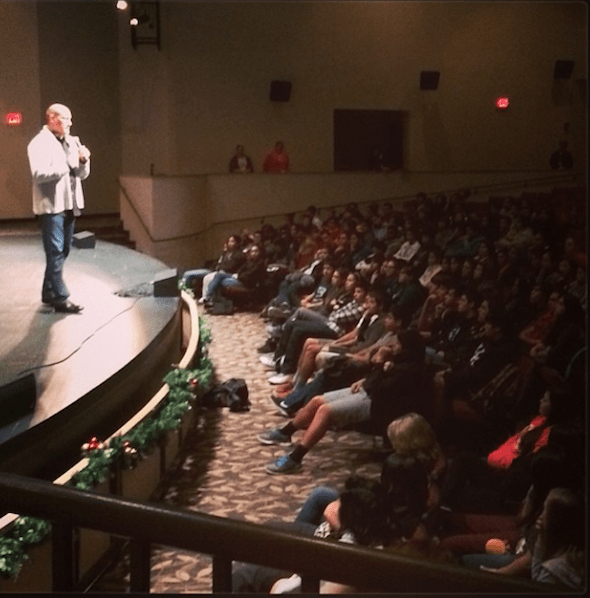 Photo: Litefoot visits Cherokee Middle School & High School Students