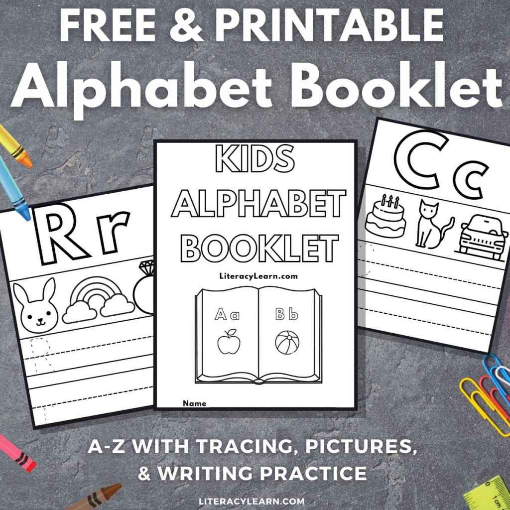 """Three pages of the alphabet booklet on a dark gray background with the words """"Free & Printable Alphabet Booklet."""""""