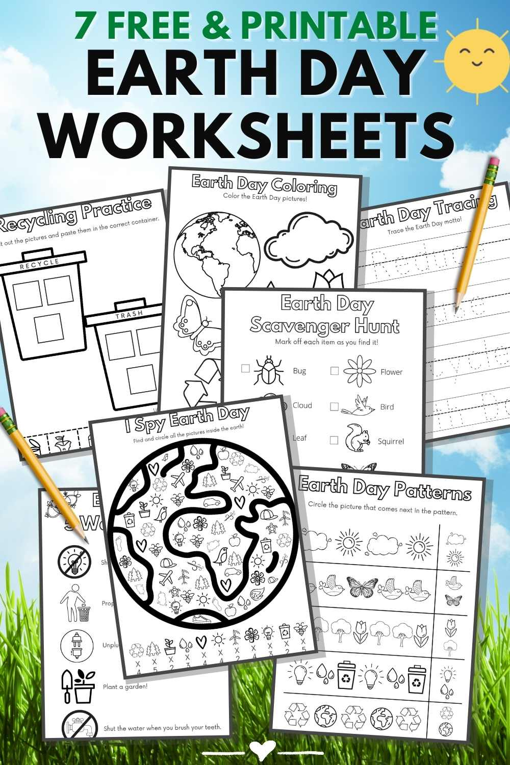 "Graphic with 7 earth day worksheets on a cloud and grass background with large font that reads, ""7 Free & Printable Earth Day Worksheets."""