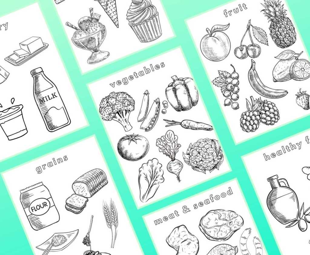 Collage of the 9 food coloring sheets placed on an angle over a gradient green background.