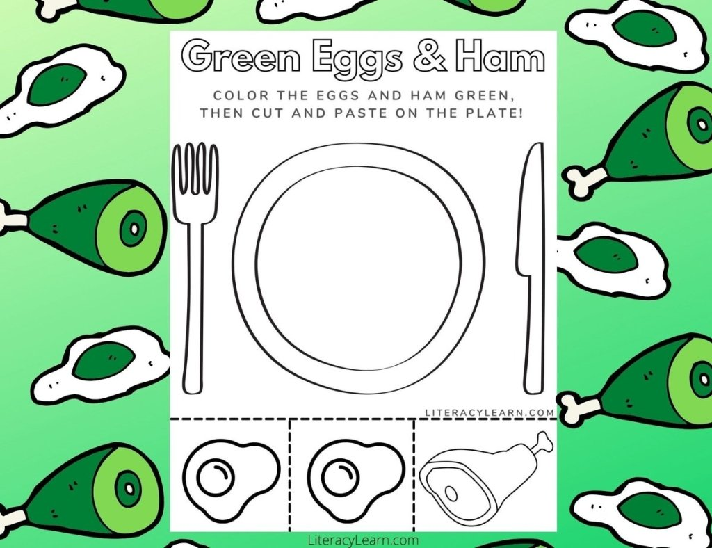 The green eggs and ham worksheet on a bright green background with green eggs and green ham cartoons surrounding it.