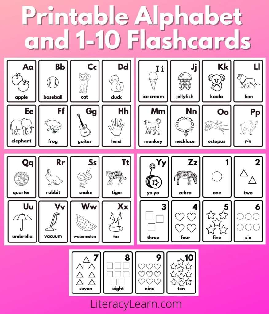 """Photos of the printed flashcards over a bright pink background with the words """"Printable Alphabet and 1-10 Flashcards."""""""