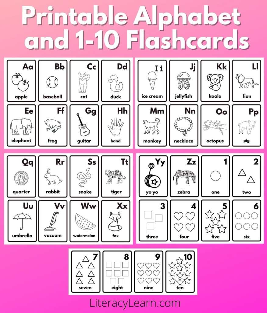 """Graphic with all the phonetic flashcards laid out on a bright pink background with the words """"Printable Alphabet and 1-10 Flashcards."""""""