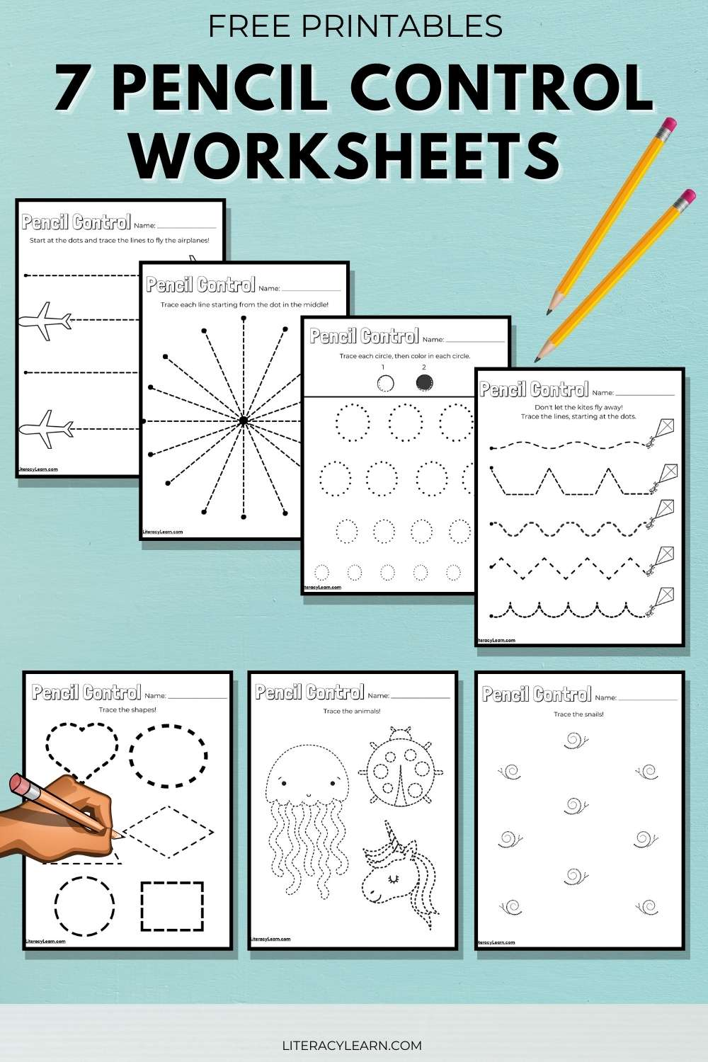 """Graphic with large black font that reads """"Pencil Control Worksheets"""" with five worksheets."""