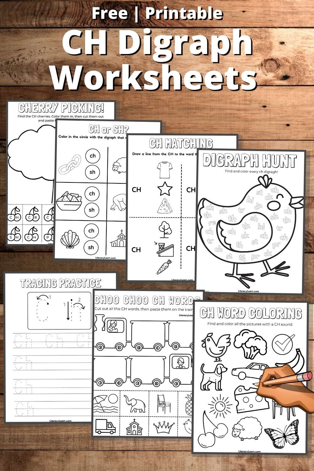 """Graphic with all the worksheets displayed on a wooden background with the words """"Free Printable CH Digraph Worksheets."""""""