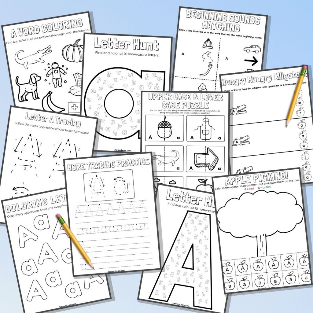 Graphic showing 11 printable worksheets on a blue background with a few pencils.