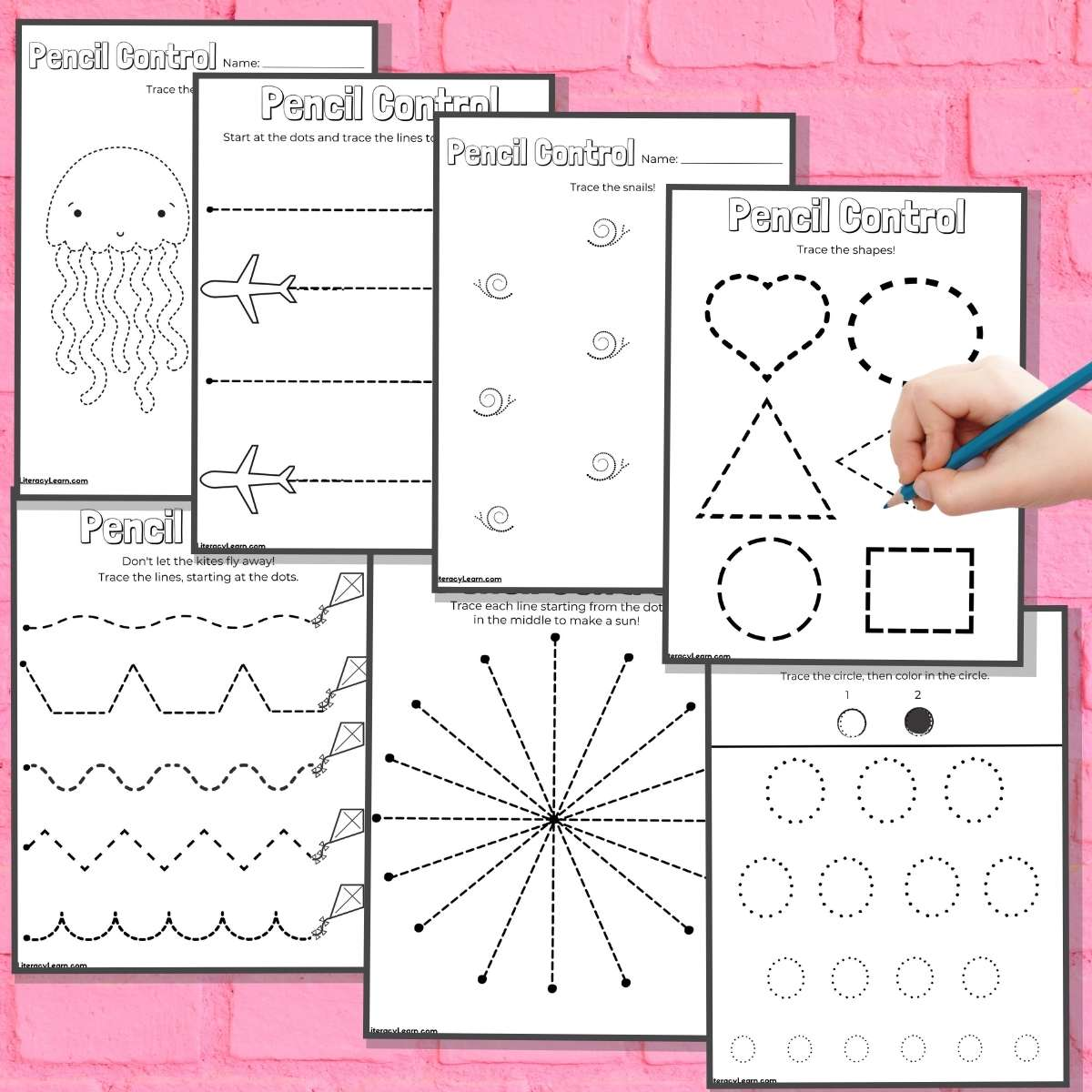 Seven pencil control worksheets on a pink brick background.