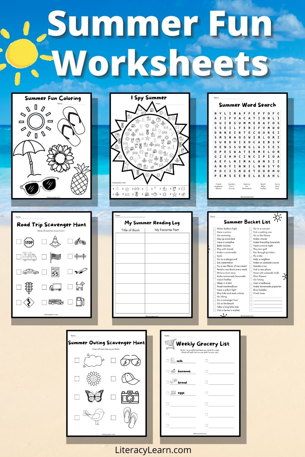 """Pinterest graphic with 8 worksheets on a beach background with text, """"Summer Fun Worksheets."""""""