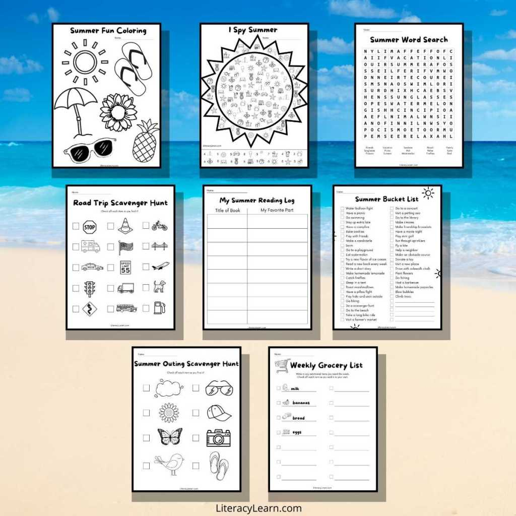 Graphic with 8 worksheets on a beach background.