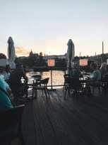 Sunset view on the floating patio