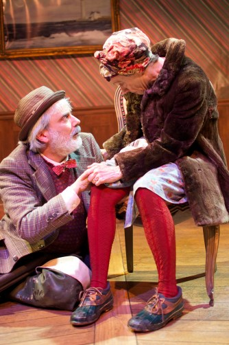 The Old Woman (Tamar Cohn) and The Old Man (David Sinaiko) in Cutting Ball Theater's The Chairs.