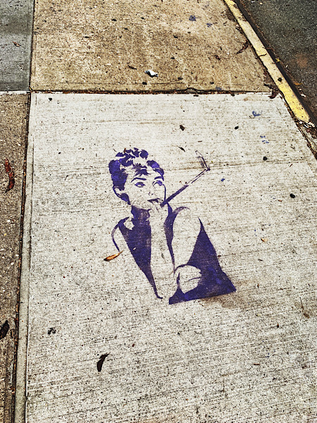 Audrey Hepburn art of a NYC sidewalk