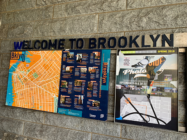 Welcome to Brooklyn sign seen during my In Five Years Literary Date