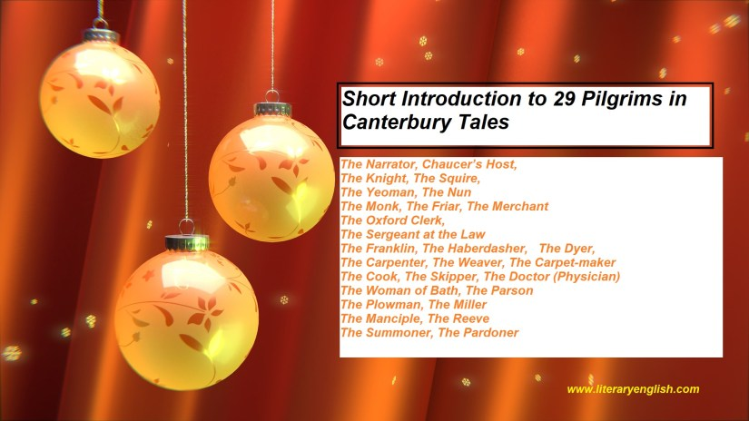 Short Introduction to 29 Pilgrims in Canterbury Tales