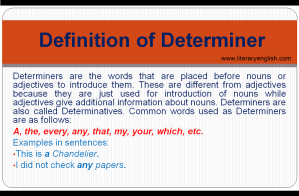 Definition and types of determiner