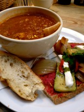 Lentil soup and veggie tartine at Le Pain Quotidien with Eve