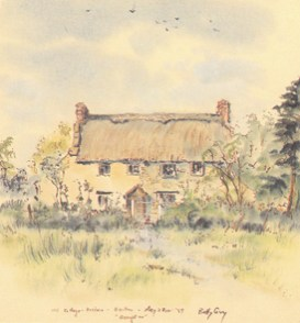 Painting of Discove Cottage, Bruton by Betty Guy, May 28, 1959