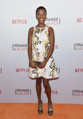 """Samira Wiley (Poussey Washington) said she would bring """"[a]n iPod. And then I'd go in the stall by myself and try to keep my feet still so no one can see me, but I'd be like…"""" [Does dance moves]"""