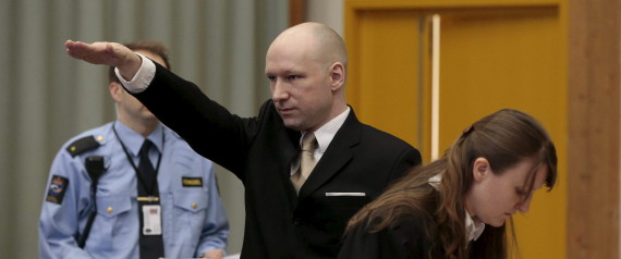 Mass killer Anders Behring Breivik raises his arm in a Nazi salute as he enters the court room in Skien prison, Norway March 15, 2016. REUTERS/Lise Aserud/NTB Scanpix ATTENTION EDITORS - THIS IMAGE WAS PROVIDED BY A THIRD PARTY. FOR EDITORIAL USE ONLY. NOT FOR SALE FOR MARKETING OR ADVERTISING CAMPAIGNS. THIS PICTURE IS DISTRIBUTED EXACTLY AS RECEIVED BY REUTERS, AS A SERVICE TO CLIENTS. NORWAY OUT. NO COMMERCIAL OR EDITORIAL SALES IN NORWAY. NO COMMERCIAL SALES. TPX IMAGES OF THE DAY